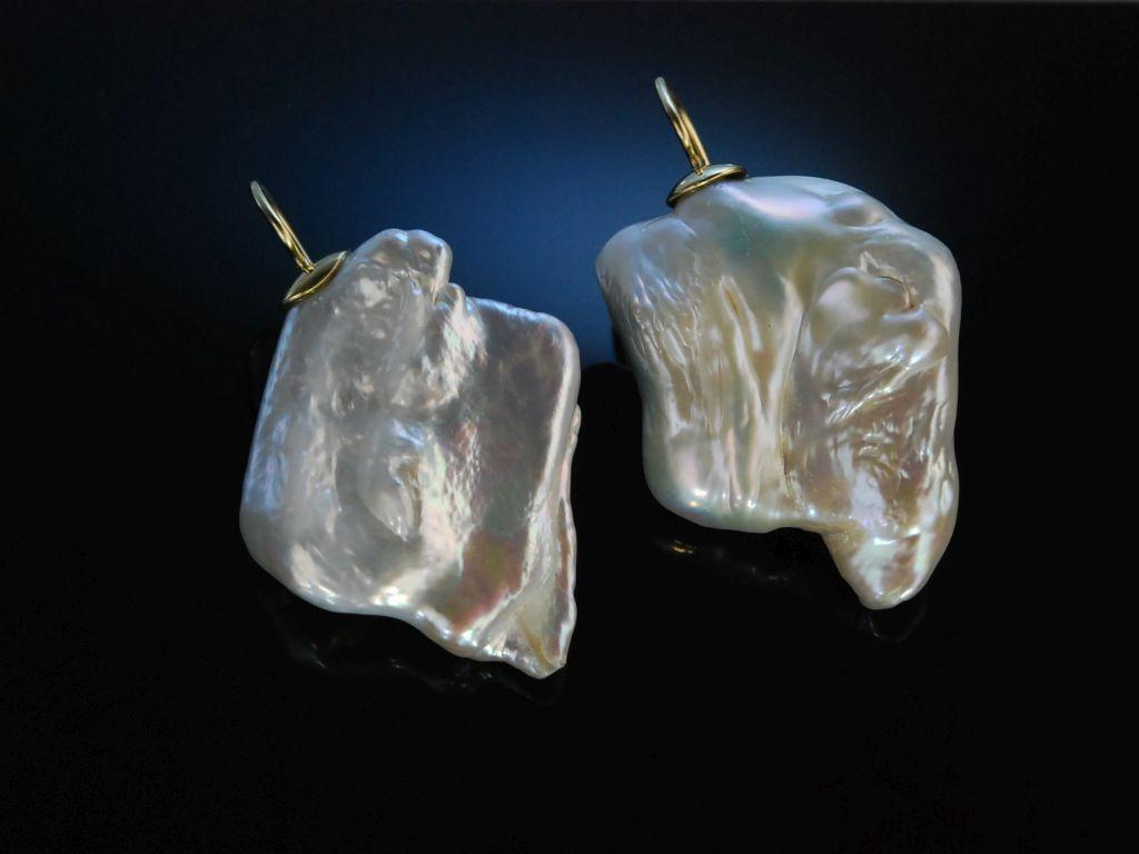 big pearls gro e ohrringe gold 585 schimmernde zuchtperlen 2. Black Bedroom Furniture Sets. Home Design Ideas