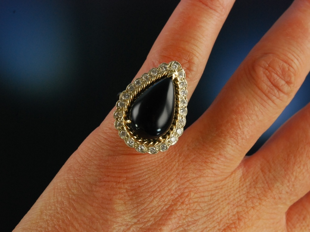 Black And Sparkling Vintage Ring Um 1960 Gold 585 Onyx