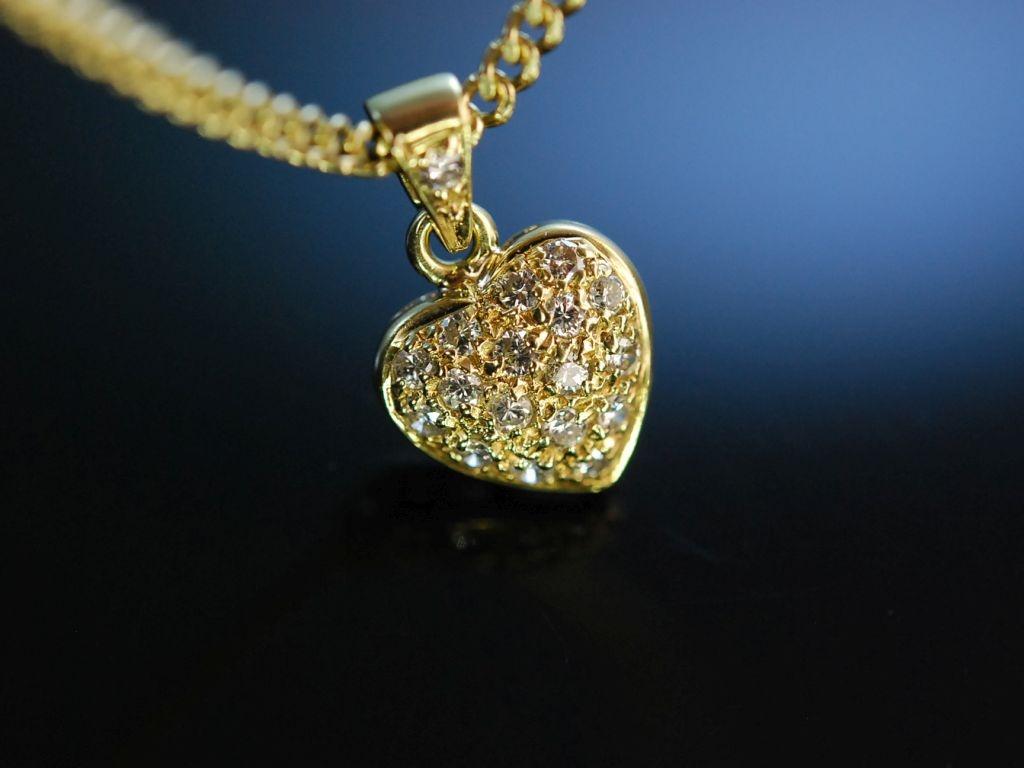 diamond heart herz anh nger mit kette gold 585 brillanten. Black Bedroom Furniture Sets. Home Design Ideas