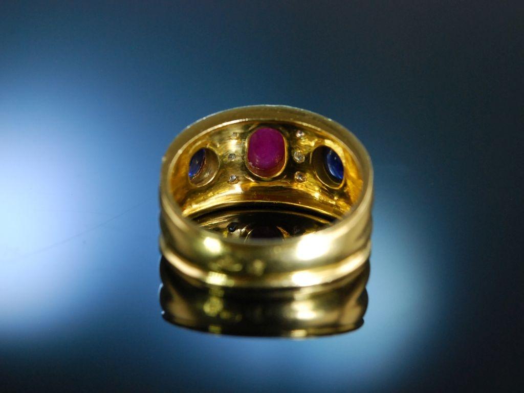exquisiter ring gold 750 saphire rubin brillanten um 2005 499 00 eu. Black Bedroom Furniture Sets. Home Design Ideas