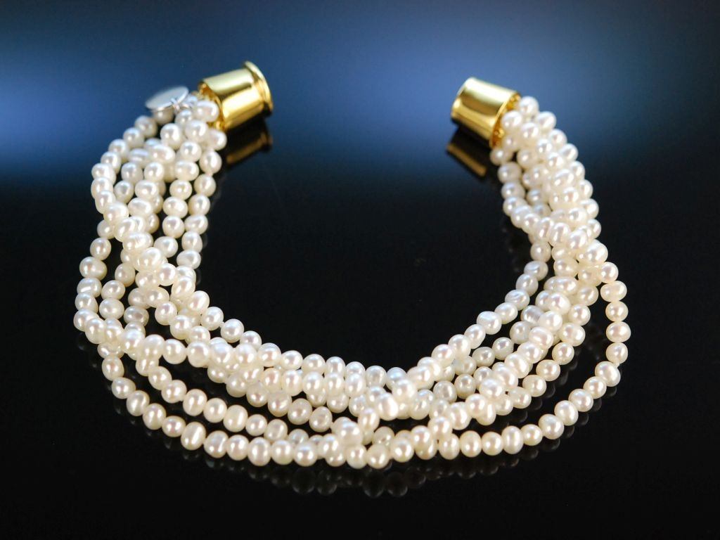 Perlenarmband  Feine Perlen Armband 6 reihig weiße Zuchtperlen Silber 925 verg