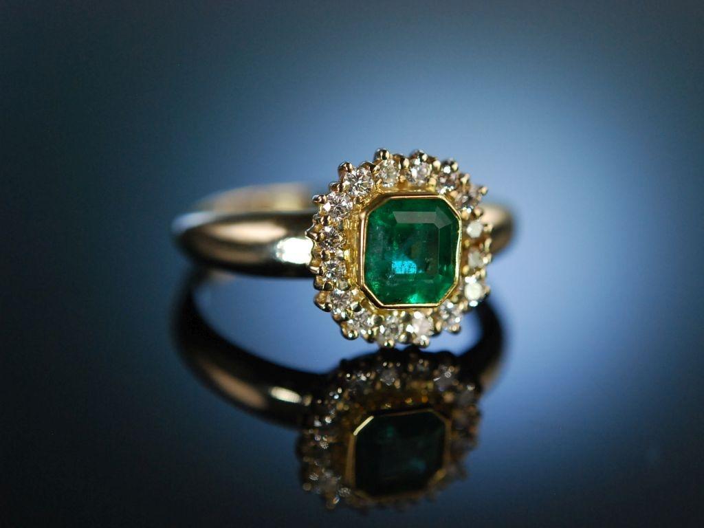 Gemeinsame Finest Emerald! Klassischer Ring Gold 750 Brillanten Smaragd, 1.190,0 #MJ_94