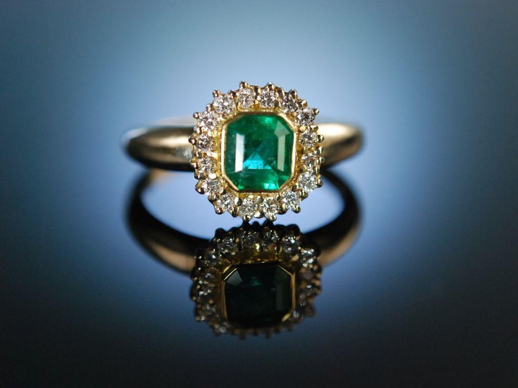 Außergewöhnlich Finest Emerald! Klassischer Ring Gold 750 Brillanten Smaragd, 1.190,0 @EH_85