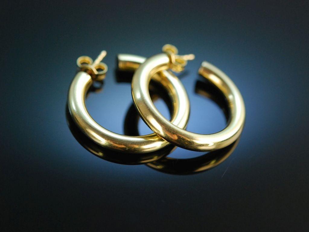 goldene klassiker sch ne creolen ohrringe gelb gold 585. Black Bedroom Furniture Sets. Home Design Ideas