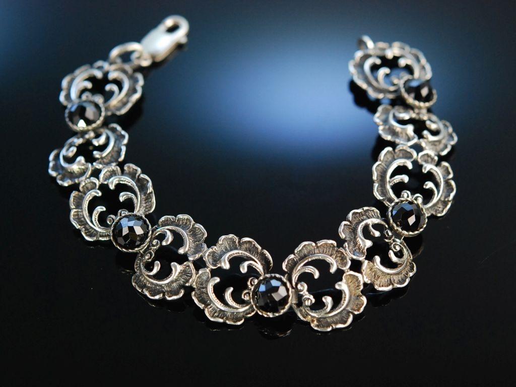 Silberarmband  Granat in Rosenschliff - Rocaille in Silber! Armband Tracht um 1950,