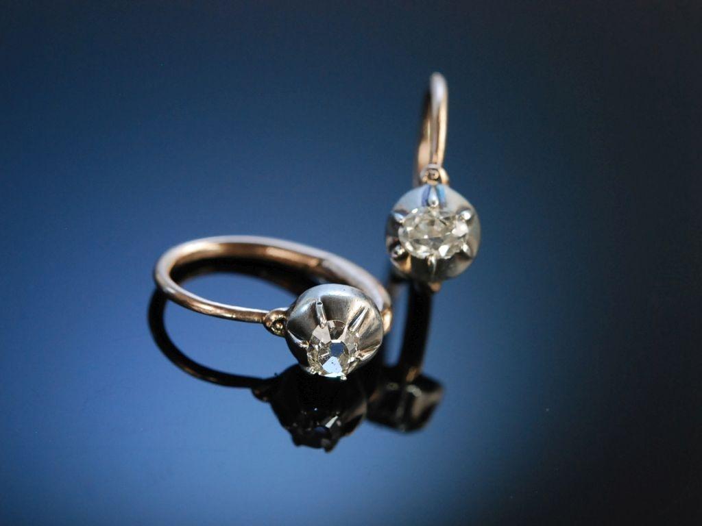 historische diamant ohrringe rot gold 333 silber diamant altschliff m. Black Bedroom Furniture Sets. Home Design Ideas