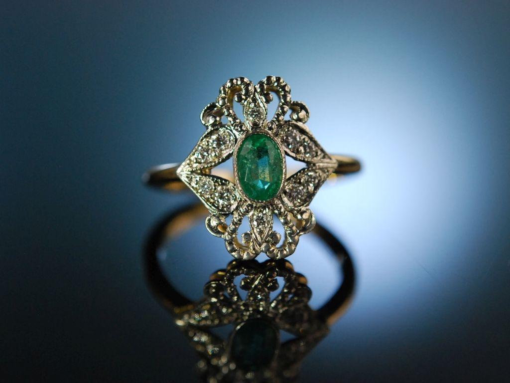 Klassisch Schon Wundervoller Smaragd Ring Gold 585 Brillanten V