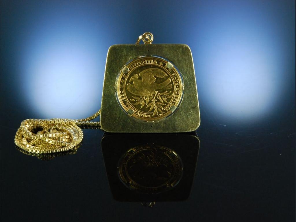 Münzanhänger Mit Kette Goldmünze Kennedy 1963 Gelbgold