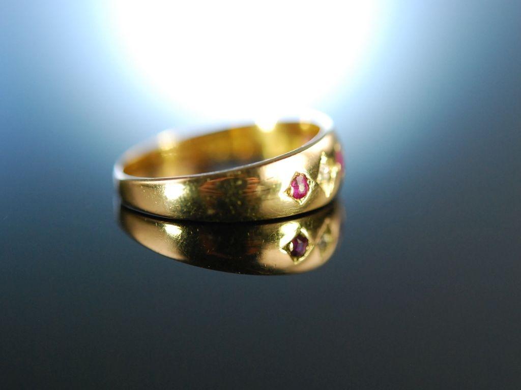 my darling antiker freundschafts band ring rubine diamanten gold 750. Black Bedroom Furniture Sets. Home Design Ideas