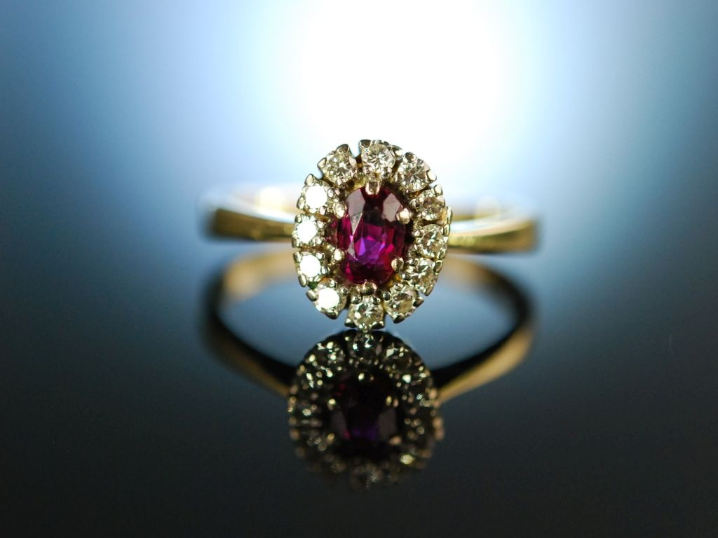 my love verlobungs engagement ring gold 585 rubin diamanten um 1960. Black Bedroom Furniture Sets. Home Design Ideas
