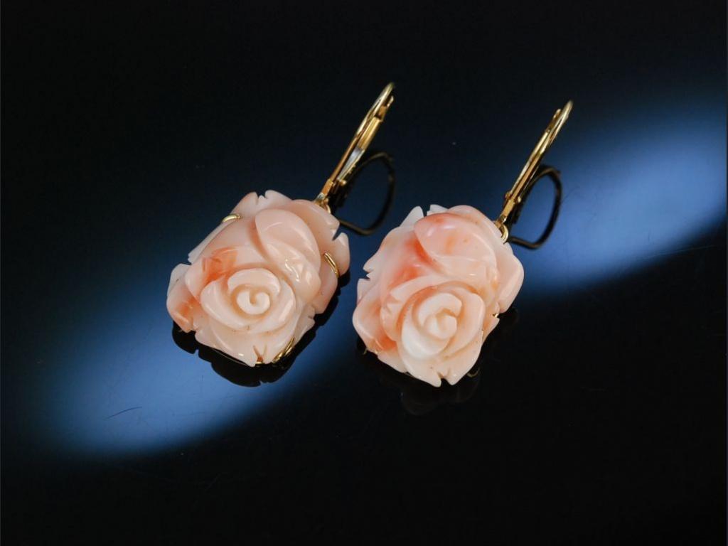zarte bl ten ohrringe gold 585 koralle rosen engelshaut. Black Bedroom Furniture Sets. Home Design Ideas