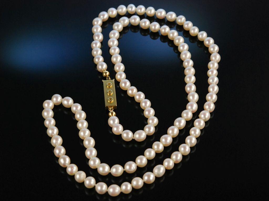pearl necklace wei e lange akoya zuchtperlen kette silber. Black Bedroom Furniture Sets. Home Design Ideas