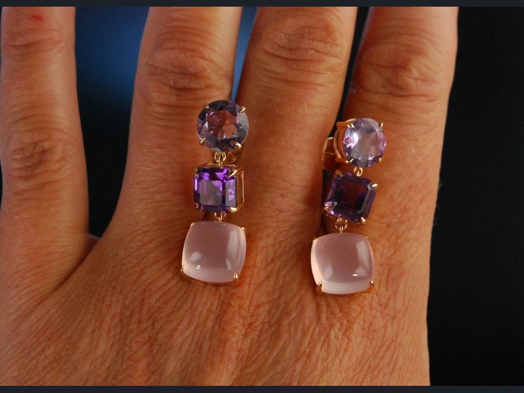 pink violet ohrringe rotgold 750 amethyste ros quarz 949 00. Black Bedroom Furniture Sets. Home Design Ideas