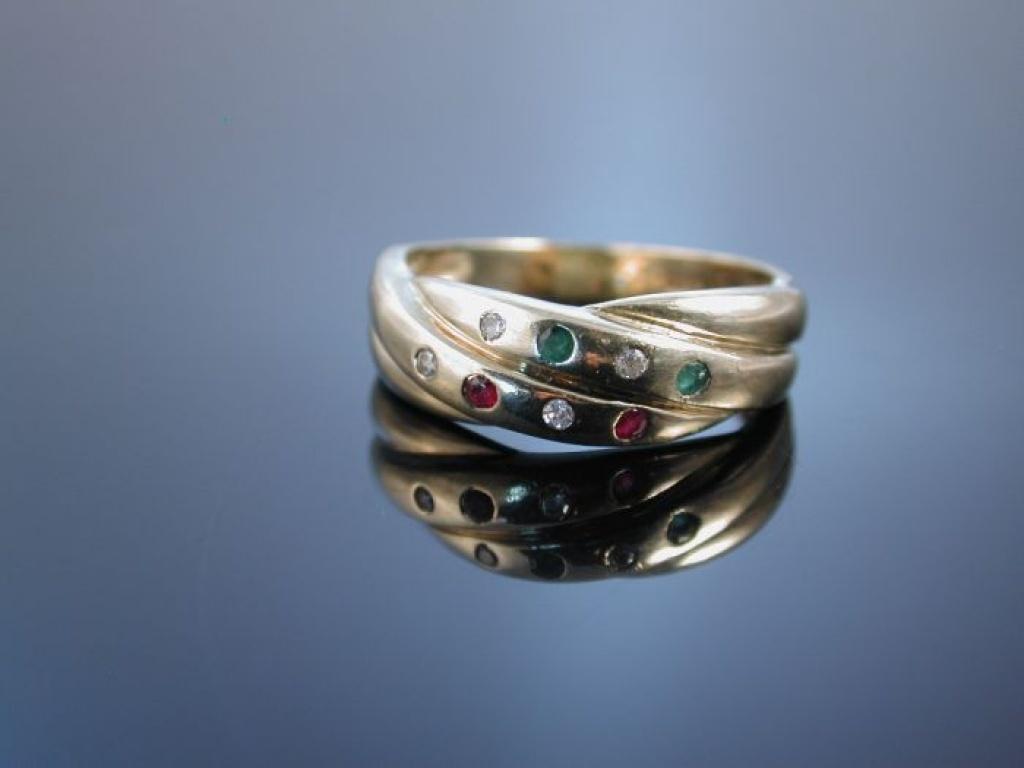 ring gold 333 smaragd rubin zirkonia um 1990 79 00. Black Bedroom Furniture Sets. Home Design Ideas