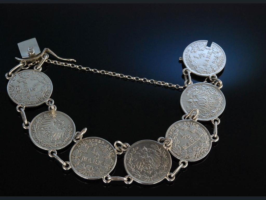 Trachten Münz Armband Silber Münzen Deutsches Reich Um 1920