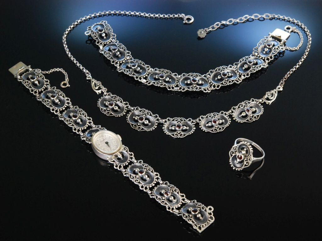 Schmuck set  Trachten Schmuck Set Silber Granat Kette Uhr Armband Ring , 359,00 &e