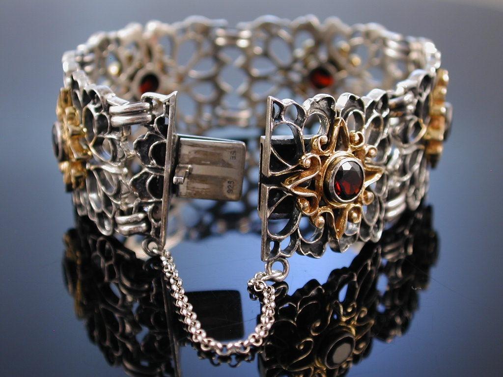 trachtenset collier ring und armband silber granate teilvergoldet teg. Black Bedroom Furniture Sets. Home Design Ideas