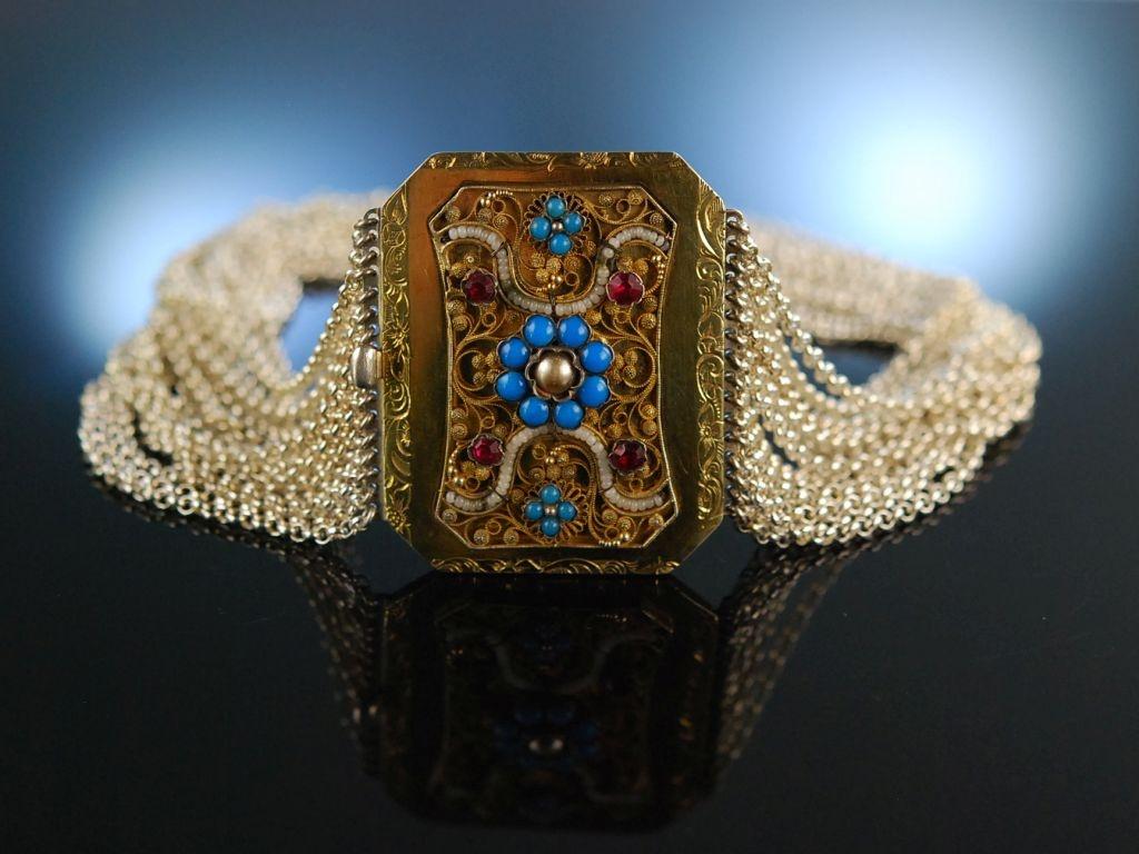 Traditionell zur Tracht! Wunderschöne Kropf Kette 16reihig Silber Chiemsee um 1850