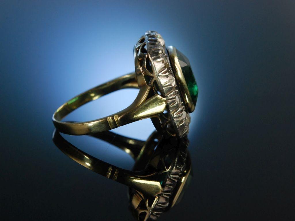 Wien Um 1880 Grosser Ring Gold 585 Diamant Rosen Grunes Gl