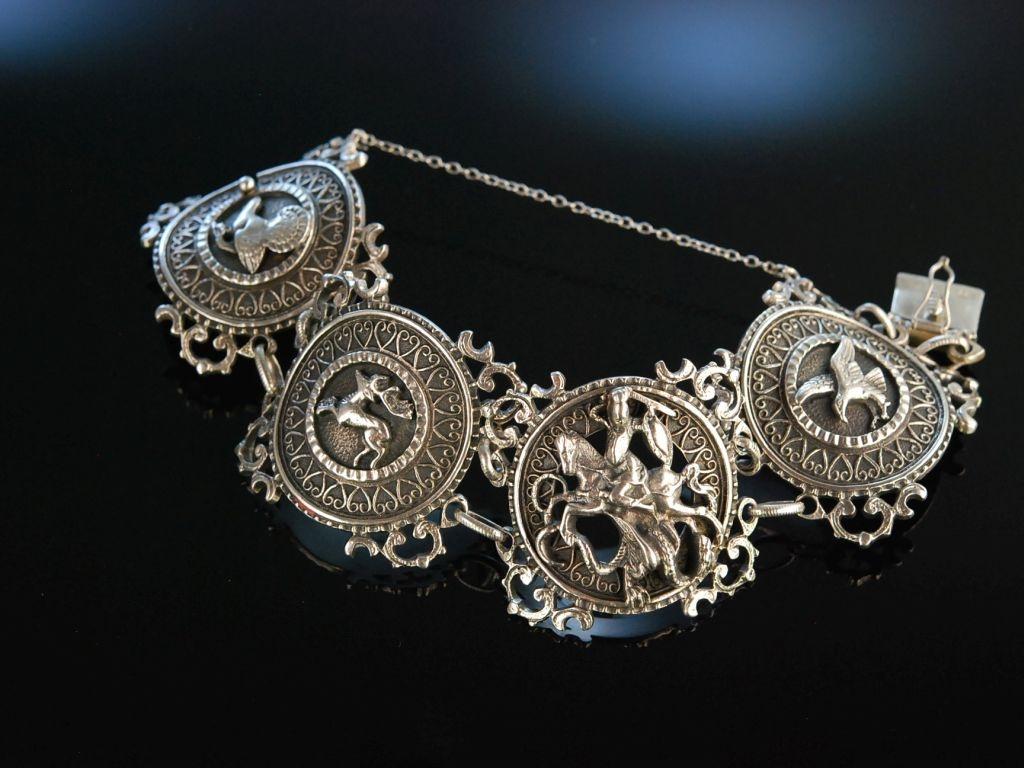 Antikschmuck  Zu Tracht und Jagd! Massives Armband Silber 925 Blachian Antikschmuck