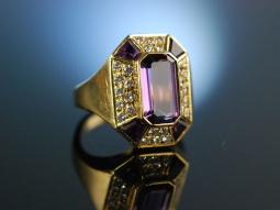 Edel und massiv! Ring Gold 750 Amethyst Brillanten...