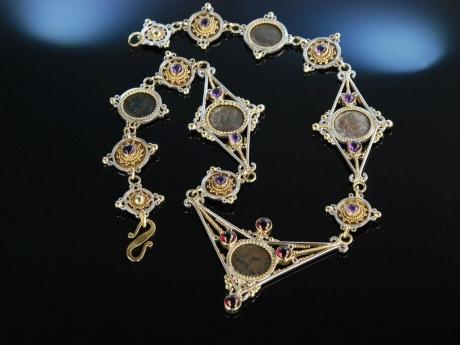 Außergewöhnliches Collier Silber 925 Granulation Antike G