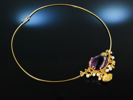Big Violett! Goldschmiede Collier Gold 750 Amethyst...