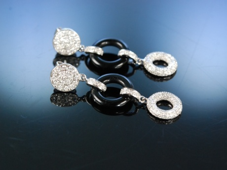 Black and White Elegance! Ohrhänger im Art Deco Stil Weissgold 750 Brillanten Onyx