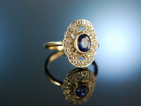 Blue eyes! Wundervoller Verlobungs Engagement Ring Gold 585 Saphir Brillanten