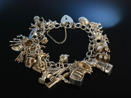 Funky Charms! Bettelarmband Sterling Silber London um 1970 Charmbracelet