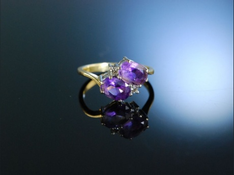 Ring Gold 9 Kt Amethyst Brillanten England um 1990