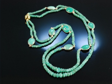 Emerald Necklace! Smaragd Collier 2 reihig Silber vergoldet