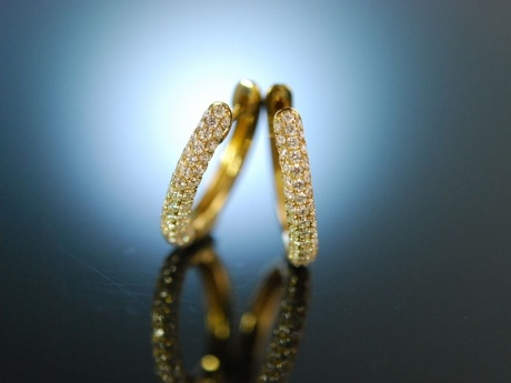 Sparkling Earrings! Wundervolle ovale Creolen Gold 750 Brillanten 1,2 ct