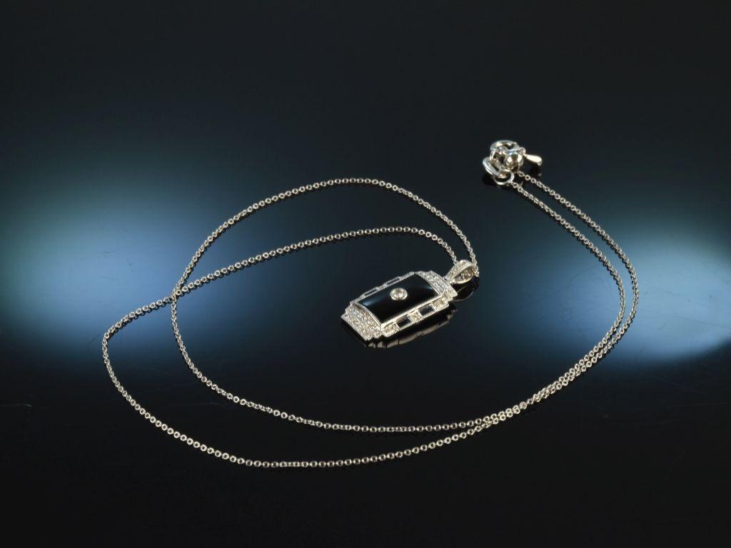 Art Deco Stil! Edler Anhänger mit Kette Diamanten Onyx