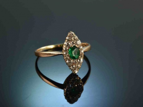 Berlin um 1900! Antiker Smaragd Diamant Marquise Ring 0,6 ct Rot Gold 585