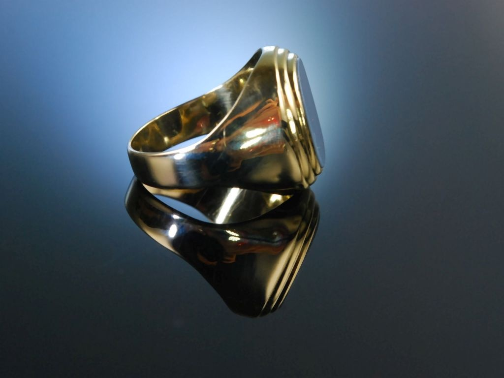 Siegelring Wappenring Herren Ring Gold 333 Lagen Achat