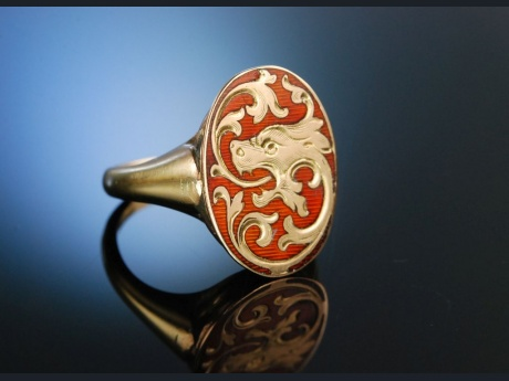 Celtic Dragon! Musealer Email Ring Schottland um 1880 Gold 585
