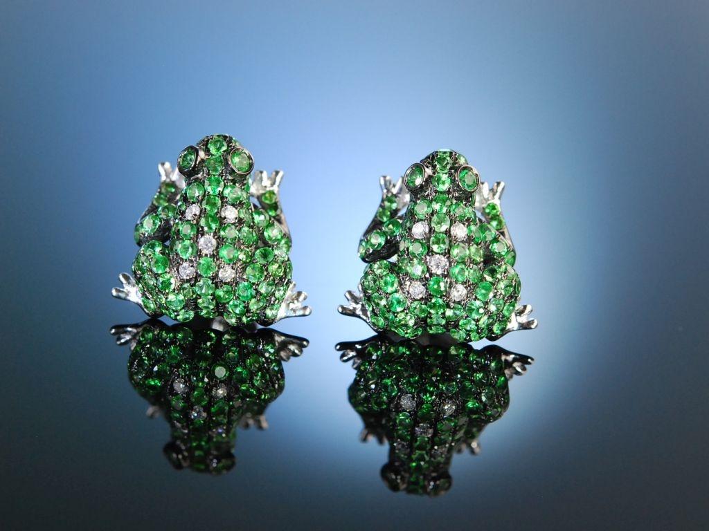 frecher frosch ohrringe wei gold 750 tsavorithe diamanten 9. Black Bedroom Furniture Sets. Home Design Ideas