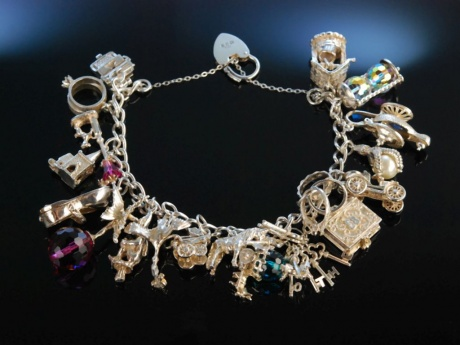 So lovely! Vintage Bettelarmband Sterling Silber Birmingham um 1970 Charm Bracelet