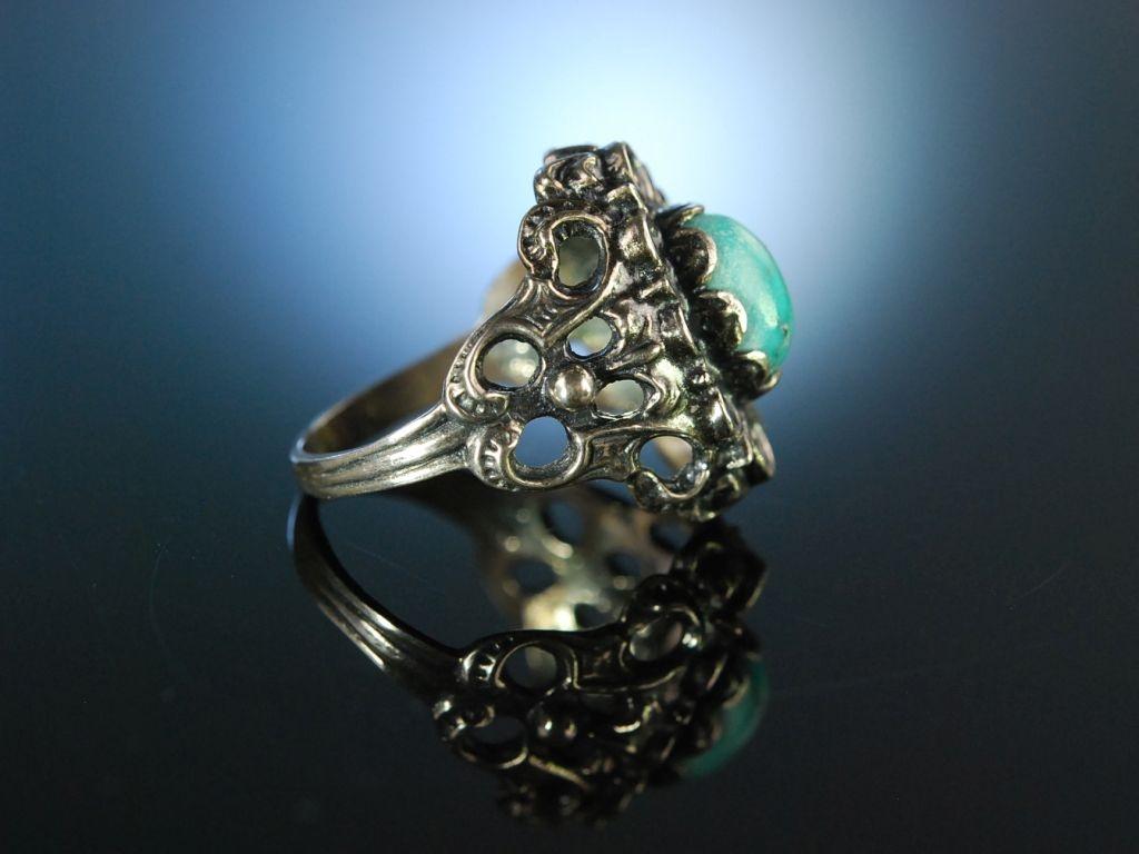 Trachtenschmuck Zur Wiesn Ring Silber 835 Türkis Um 1950 9900
