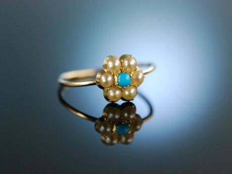 My lovely! Antiker Verlobungs Engagement Ring Gold 15 Kt Saatperlen Türkis um 1900