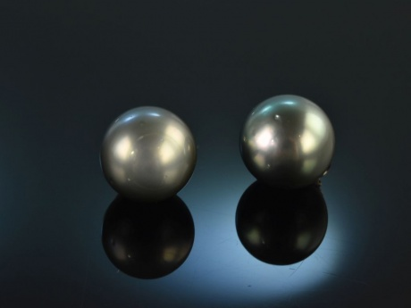 Big Grey Pearls! Tahiti Zuchtperlen Ohrringe Weiß Gold 585