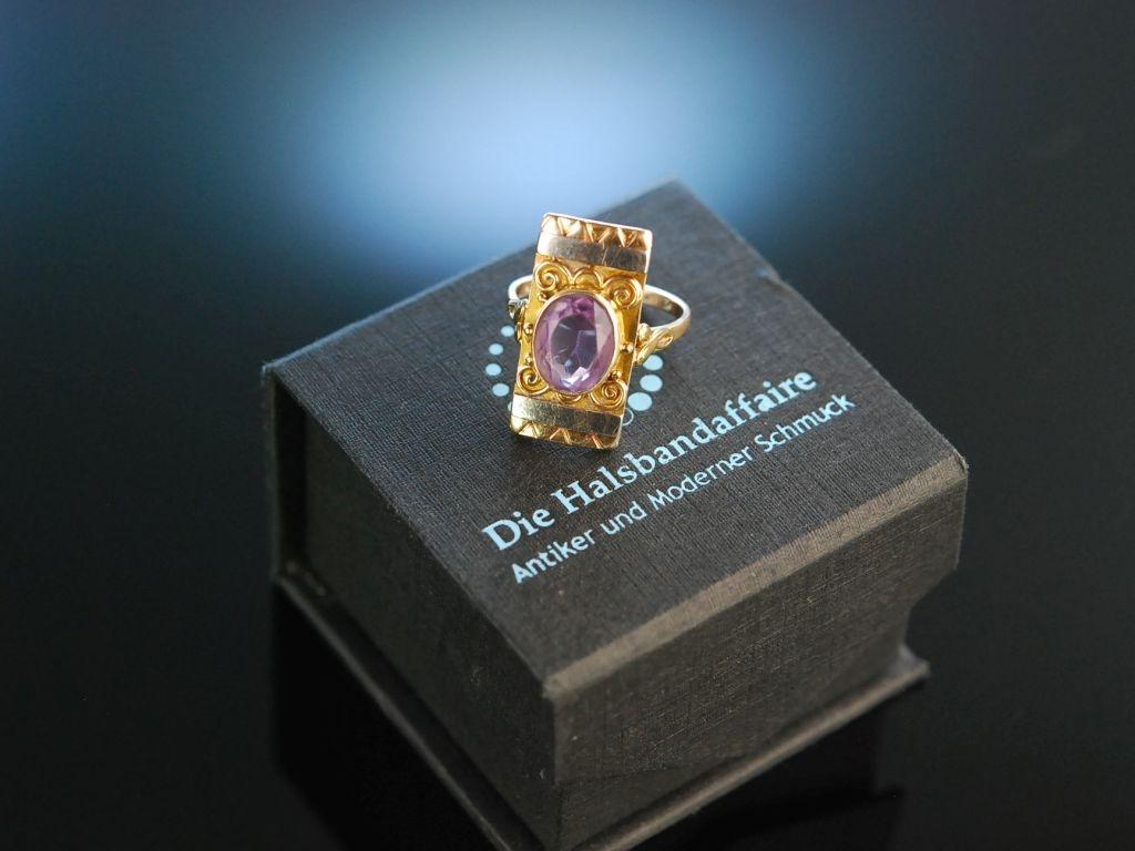 Munchen Um 1930 Eleganter Ring Im Bauhaus Stil Gold 585 Amethys