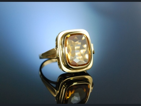 Goldfinger! Vintage Ring Citrin Gold 585