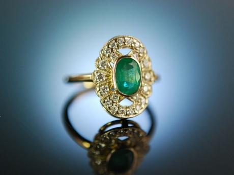 Ganz und zu Extrem Klassisch schön! Wundervoller Smaragd Ring Gold 585 Brillanten, #SD_15