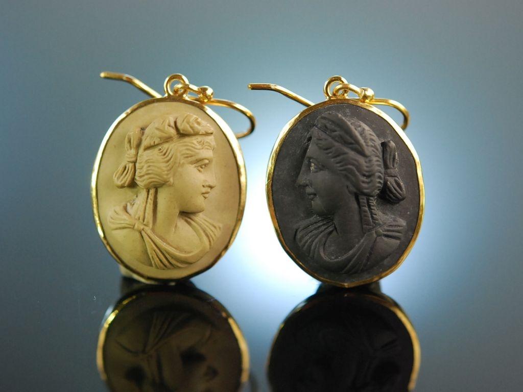 Antique Lava! Historische Lava Kamee Ohrringe Silber vergoldet Frankreich um 1850