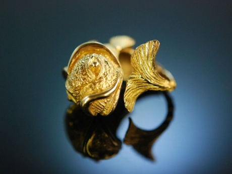 Fabulous Fish! Riesiger Fisch Vintage Ring um 1960 Gold 900