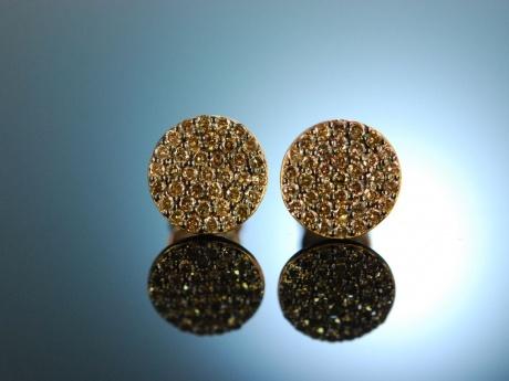 feines funkeln edle diamant ohrringe rot gold 750 cognac brillanten. Black Bedroom Furniture Sets. Home Design Ideas