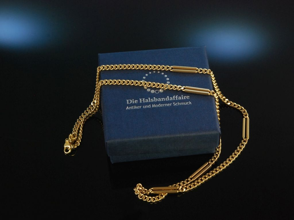 Edler Klassiker! Massive Flachpanzer Collier Kette Gold 585