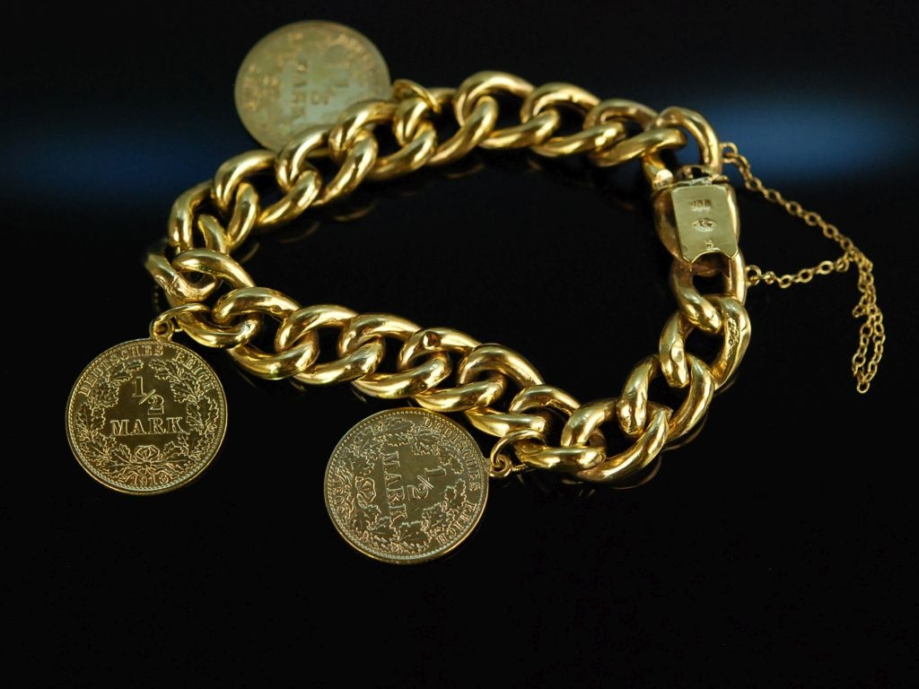 Um 1900 Historisches Münze Armband Silber 800 Vergoldet Kaiserr